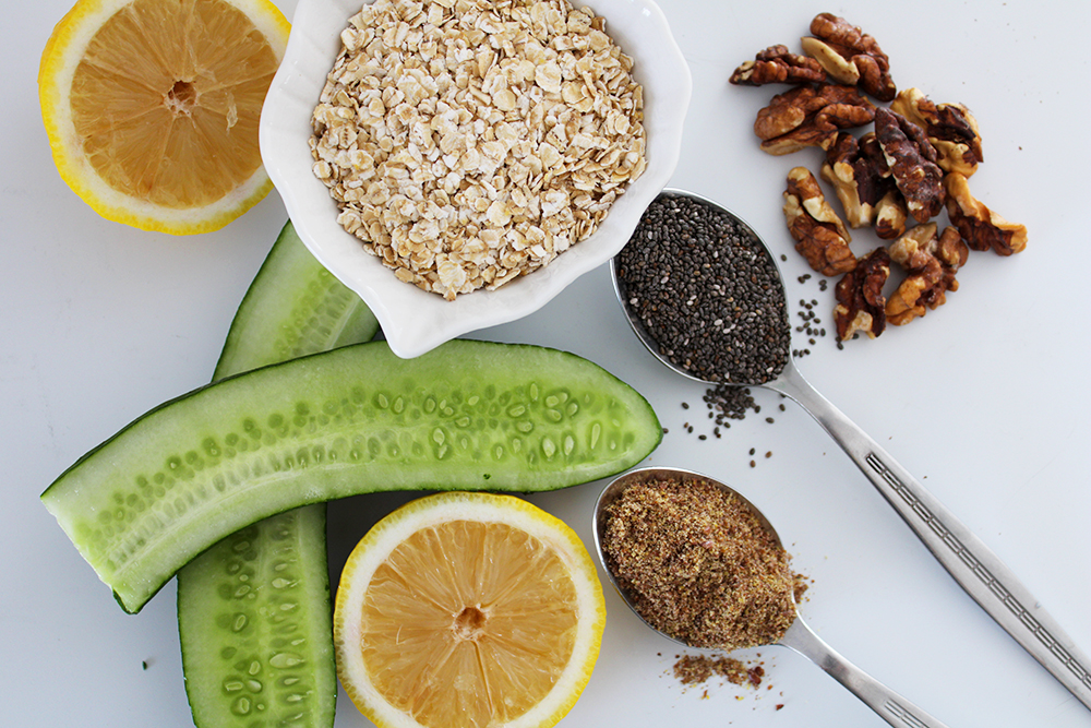Aesthetic healthy foods - walnuts, chia seeds, flax seed, cucumber, oats, lemon