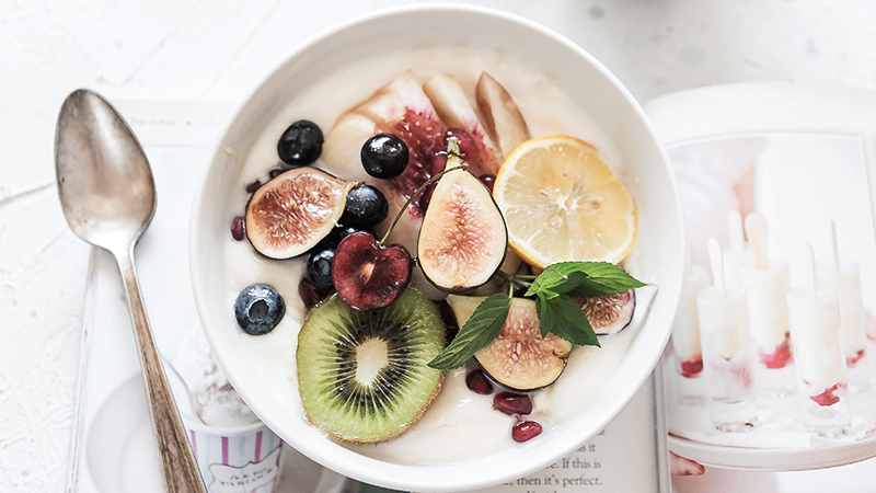 healthy breakfast with lots of fruits